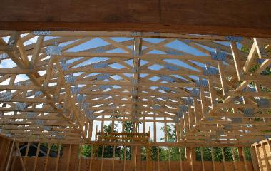 Trusses during garage Construction